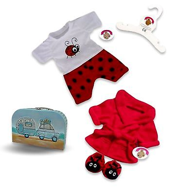 Teddy Bear Clothes fits Build a Bear Teddies Red Bug PJ's Dressing Gown Slippers