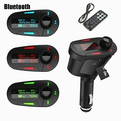 Coche Bluetooth Reproductor Transmisor LED Lector MP3 FM In Car Mechero SD USB