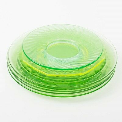 Mixed Lot of 6 Vaseline Green Glass Plates Lunch Side Salad Glowing UV Uranium