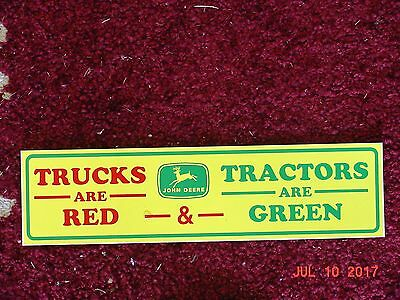 (2) John Deere Bumper Stickers - Trucks Are Red, Tractors Are Green