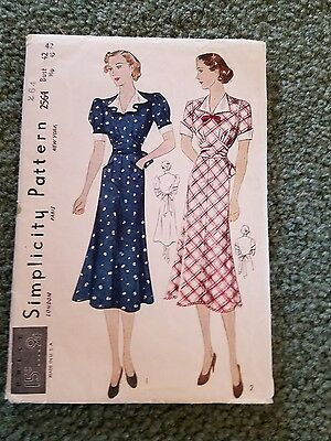 Vintage Simplicity Sewing 1930 - 40's Pattern  Misses' One Piece Dress Bust 42