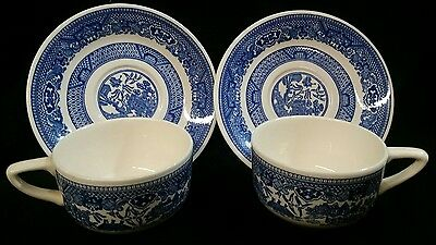 Vintage Blue Willow (2) Tea Cup and Saucer Sets Nice! Blue and white
