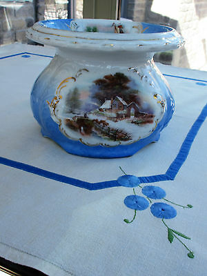 Antique : J S Germany Spittoon Cuspidor Handpainted Porcelain on Ironstone  Rare