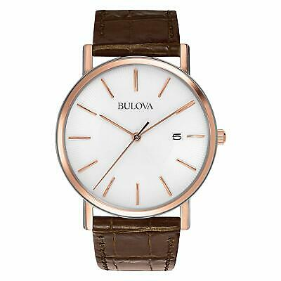 New Bulova Men's Rose Gold Accent White Dial Brown Leather Watch 98H51
