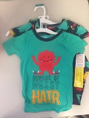 """NEW Toddler Boys' 4-Pc Cotton """"Messy Hair Monster"""" Pajama Set - Navy/Teal - 4T"""