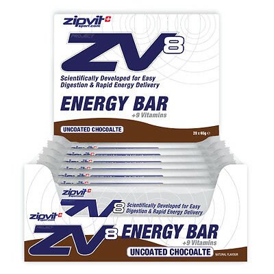 ZV8 Energy Bar, Uncoated Chocolate 20 x 55g by Zipvit Sport