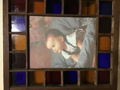 Antique Stained Glass Window Frame 26X29