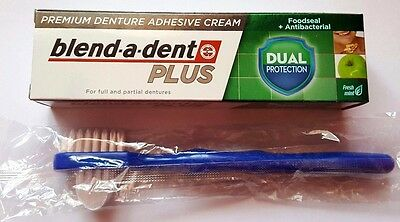 Blend-a-dent denture adhesive plus dual protection/ klej do protez + brush FREE