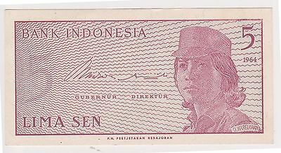 (H62-60) 1964 Indonesia 5 SEN bank note (G)
