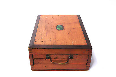 RARE 1900s ANTIQUE French Painter's Artist Box WITH Original Paints + Palettes!
