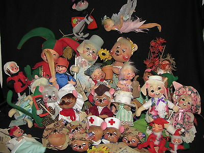 Lot of 21 Annalee Dolls Plus Ornaments Pin Easter Christmas Halloween USA