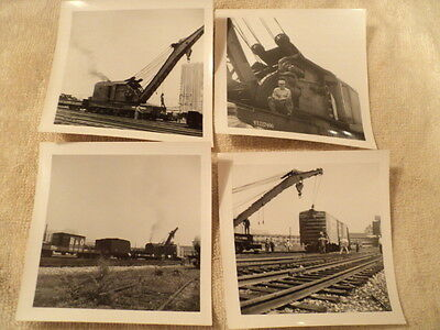 Lot of 4 Vintage Train Derailment and Crane, Real Black and White Photos