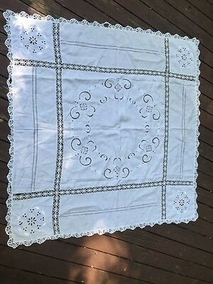 "Antique Vintage Needlework Lace White Cotton Tablecloth Square 44"" Linen Pretty!"