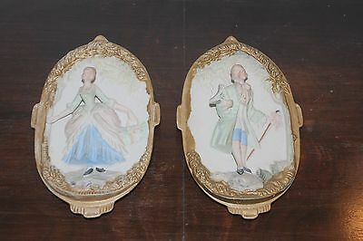"Vtg Hand Painted Japnese Chase Porcelain ""Victorian Couple"" Wall Plaques"