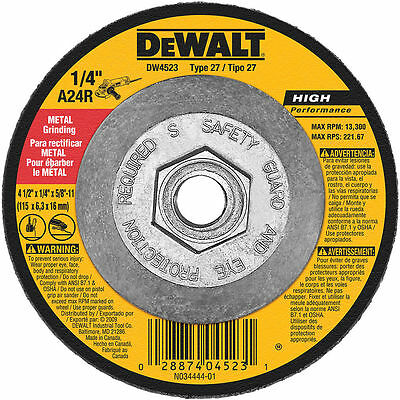 "10 New Dewalt 4-1/2"" x 1/4"" x 5/8""-11 H.Performance Grinding Wheels- Free Ship"