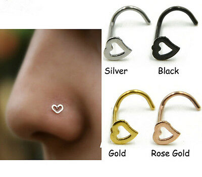 50pcs 20g Nose Rings Heart  Nostril Nose Ring Screw Studs Body Piercing Jewelry