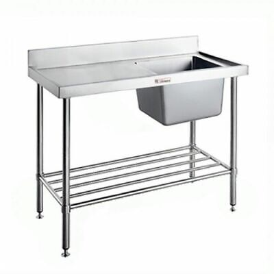 Simply Stainless Single Sink Right Bowl w Pot Rail & Splashback 2100x700x900mm