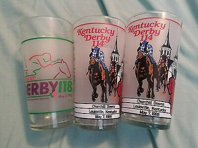 Set of 3 Kentucky Derby glasses, two 114 1988, one 118 1992 excellent condition
