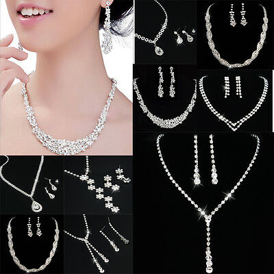 Silver Women Bridal Bridesmaid Wedding Jewelry Sets Necklace Earrings Set Gifts