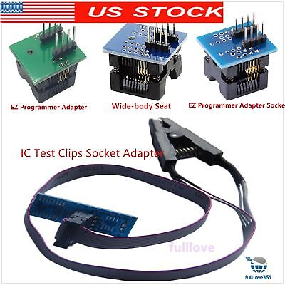 SOIC8 SOP8 Flash Chip IC Test Clips Socket Adpter BIOS/24/25 Programmer Adapt US