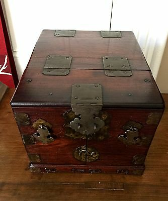 CHINESE Antique Victorian ROSEWOOD Travel Chest/Jewelry Box~RARE!
