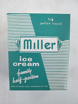 "Vintage, ""Miller"" Ice Cream, Family Half-Gallon, Miller Dairy, Indiana"