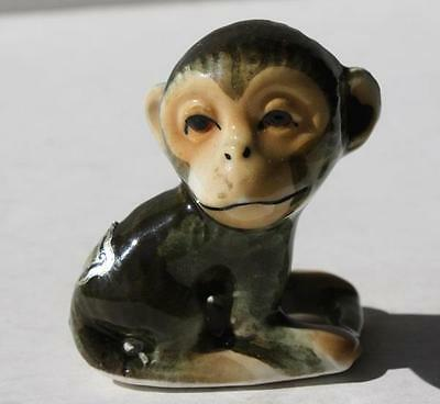 Vintage Miniature Bone China Monkey Figurine Very Well Made-Label Japan-Must See