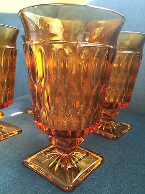 Four Antique Amber Glass Goblets