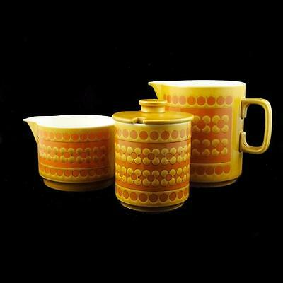 RETRO HORNSEA ENGLAND 1970's SAFFRON - Milk & Cream Jugs + Sugar Pot + Free Gift