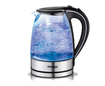 Todo 1.7L Glass Cordless Kettle 2200W Blue Led Light Electric Water Jug Black