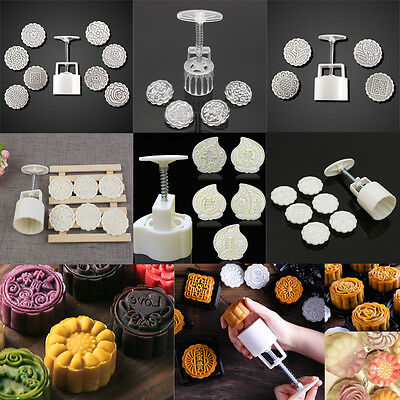 Peach Flower Stamps One Barrel Moon Cake Mould Hand Pressure Pastry Baking Tool