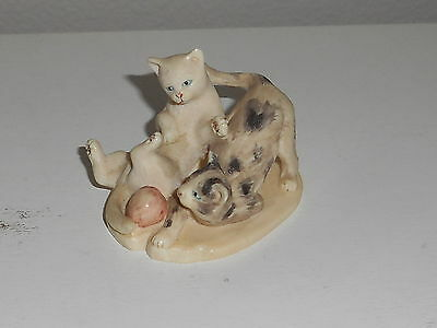 Vintage 2 Cats Playing Figurine From Russia On Bone Base ~ Highly Detailed
