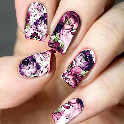 Nail Water Decals Nail Art Transfer Nail Stickers Accessory Purple rose