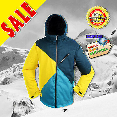 New RIDE Mens Snowboard Ski Snowboard Jacket : Bright Yellow Blue vs Dark Green