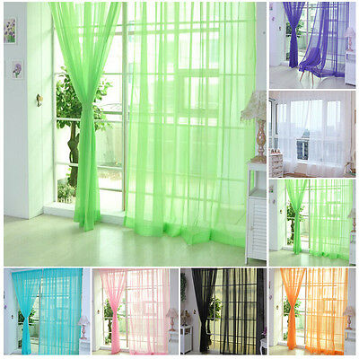 "78""x39.4"" Sheer Curtains Tulle Voile Door Decor Window Drapes Panel Valances Hot"