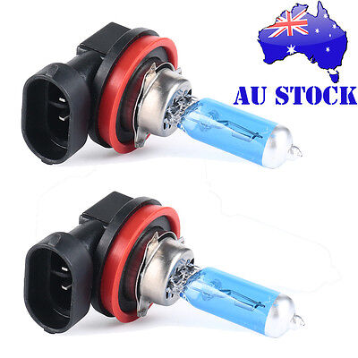 2 X H11 12V 100W Xenon White 6000k Halogen Blue Car Head Globes Bulb - AU STOCK