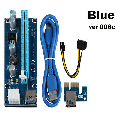 USB 3.0 PCI-E Express 1x to 16x Extender Riser Card Adapter SATA Power Cable KY