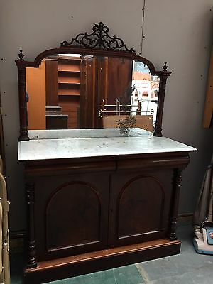 Victorian Mahogany Mirror Back Chiffonier Marble Top Ornate Fretwork Parkinson's