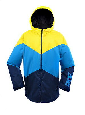 New RIDE Mens Ski Snowboard Jacket : 3 Layer Wave Pattern (Yellow, Blue, Navy)