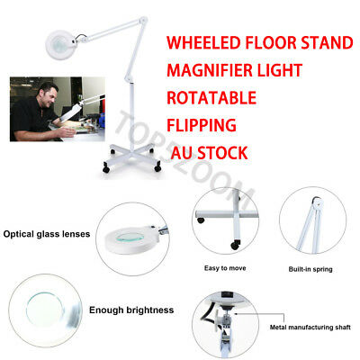 Magnifying Lamp Magnifier Light 5 Diopter Glass Lens Wheeled Floor Rolling Stand