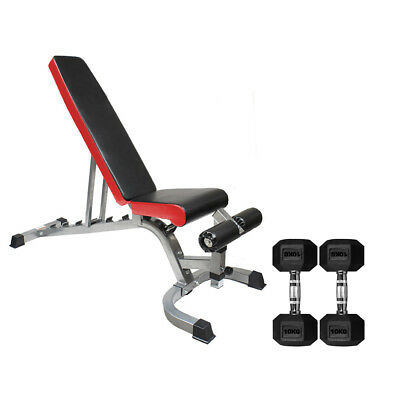 Adjustable Weight Bench Heavy Duty Flat Incline Decline with Hex Dumbbell Set