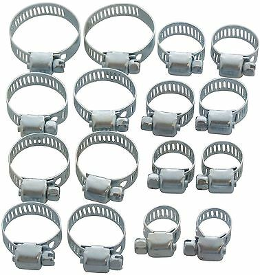 Am-Tech Jubilee Clips Hose Clamps 16pc Set 13mm - 32mm New Garage Plumbing S4390