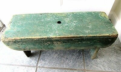 "Big 24"" Painted Vintage Stool Bench Step Primitive Country Industrial Foot Farm"
