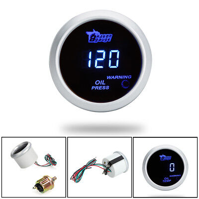 "New UK 2"" 52mm 0-120 PSI Electrical Digital LED Car Oil Pressure Gauge Bar Blue"