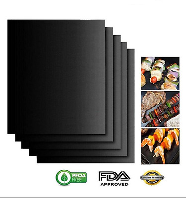 2x BBQ Grill Mat Set Reusable Resistant Non-Stick Barbecue Baking Sheet Cooking