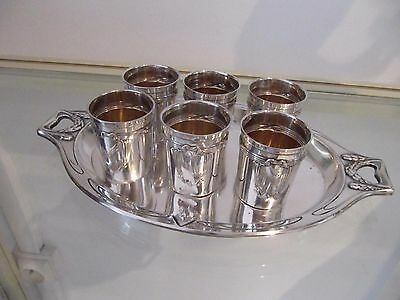 early 20th c german 800 silver 6  liquor / vodka goblets & tray Louis XVI st