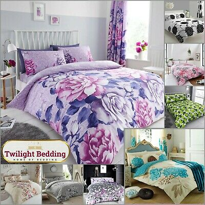 DOUBLE & KING FLORAL QUILT DUVET COVER Reversible Feather Grey/Pink Bedding Set