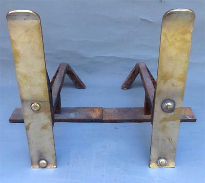 Vintage, Modernist, Brass  Fireplace Andirons