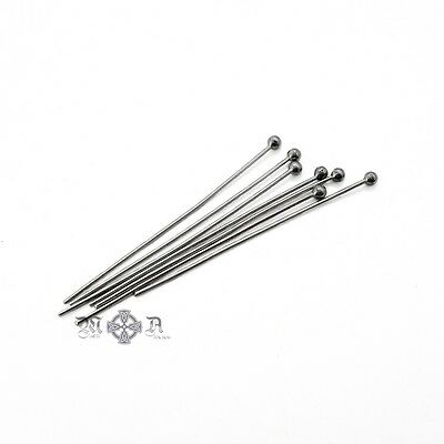 50 x Stainless Steel 35mm Ball Head Pins - 22 Gauge (0.6mm Thick) Hand Sorted