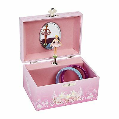 JewelKeeper Girls Musical Jewelry Storage Box with Spinning Ballerina, Pink Swan